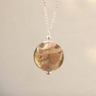 Bijou pendentif perle de verre de murano coloris beige nude Anouk