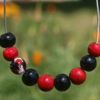 collier Murano rouge et noir
