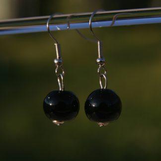 Boucles d'oreilles en acier inoxydable avec perles de verre de Murano Davina noir